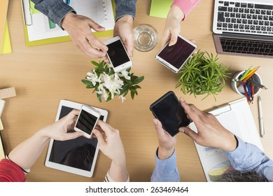 Concept of team of business using tablet and smart phone with mobile phone