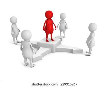 concept team leader in center of business 3d people group. 3d render illustration
