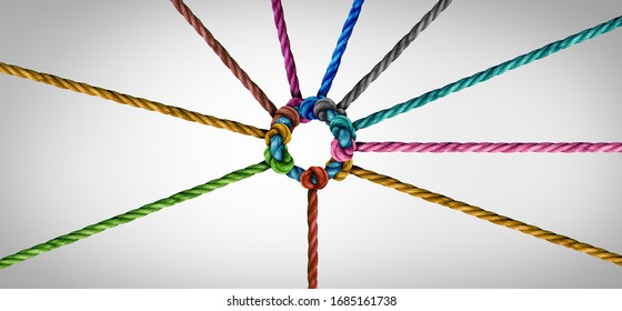 Concept of team unity and teamwork idea as a business metaphor for joining a partnership as diverse ropes connected together as a corporate symbol for cooperation and working collaboration. - Shutterstock ID 1685161738