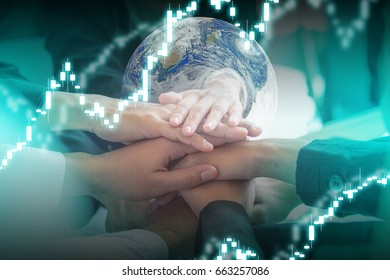 Concept of teamwork. business people joined hands. Elements of this image furnished by NASA