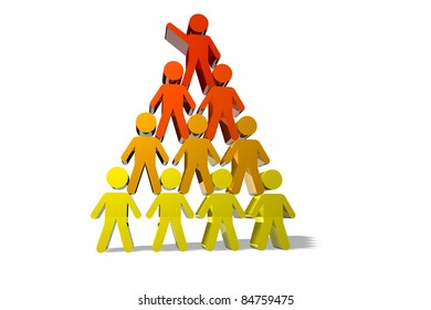Concept of teamwork and partnership in yellow and red color