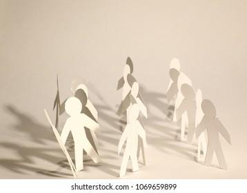 concept of teamwork.team paper men standing