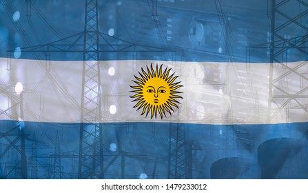 Concept Technology Environment, Flag of Argentina merged with technology, high voltage power poles and electrical power plant cooling towers