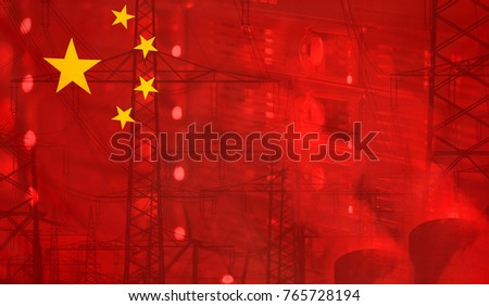 Concept Technology Environment, Flag of China merged with technology, high voltage power poles and electrical power plant cooling towers