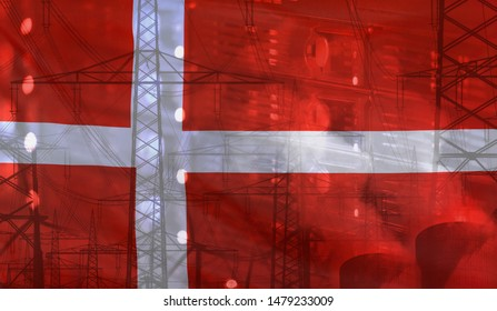 Concept Technology Environment, Flag of Denmark merged with technology, high voltage power poles and electrical power plant cooling towers