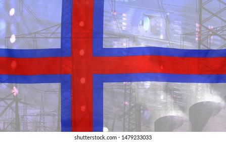 Concept Technology Environment, Flag of Faroe Islands merged with technology, high voltage power poles and electrical power plant cooling towers