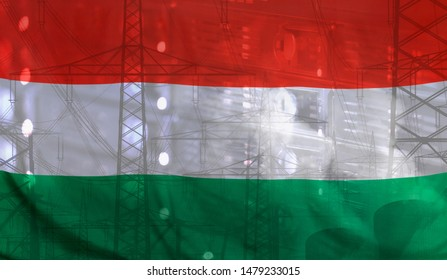 Concept Technology Environment, Flag of Hungary merged with technology, high voltage power poles and electrical power plant cooling towers