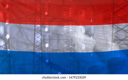 Concept Technology Environment, Flag of Netherlands merged with technology, high voltage power poles and electrical power plant cooling towers