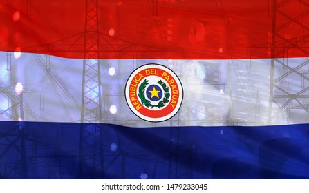 Concept Technology Environment, Flag of Paraguay merged with technology, high voltage power poles and electrical power plant cooling towers