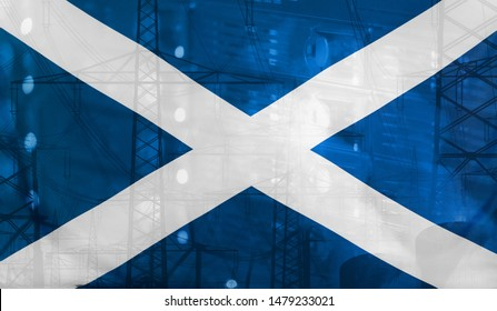 Concept Technology Environment, Flag of Scotland merged with technology, high voltage power poles and electrical power plant cooling towers
