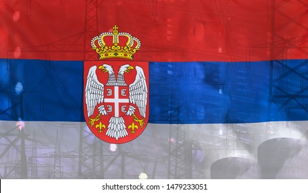 Concept Technology Environment, Flag of Serbia merged with technology, high voltage power poles and electrical power plant cooling towers