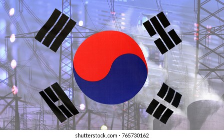 Concept Technology Environment, Flag of South Korea merged with technology, high voltage power poles and electrical power plant cooling towers