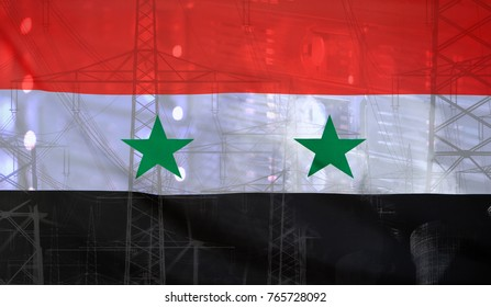 Concept Technology Environment, Flag of Syria merged with technology, high voltage power poles and electrical power plant cooling towers