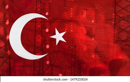 Concept Technology Environment, Flag of Turkey merged with technology, high voltage power poles and electrical power plant cooling towers