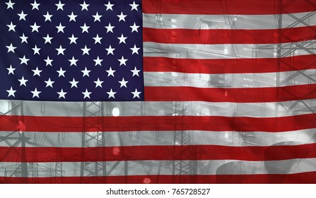 Concept Technology Environment, Flag of USA merged with technology, high voltage power poles and electrical power plant cooling towers