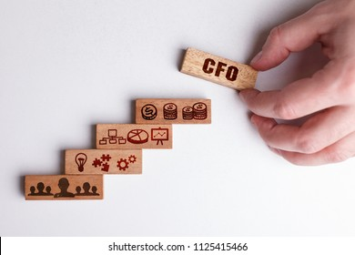 The concept of technology, the Internet and the network. Businessman shows a working model of business: CFO
