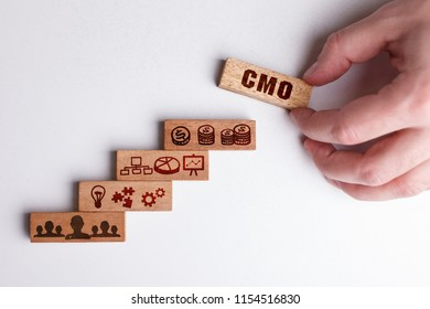 The concept of technology, the Internet and the network. Businessman shows a working model of business: CMO