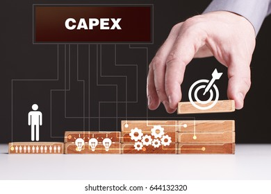 The concept of technology, the Internet and the network. Businessman shows a working model of business: Capex