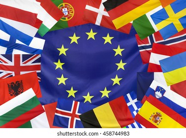 Concept Textile flag of Europe with european countries as frame seamless close up with wind waves in the real fabric
