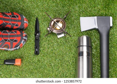concept of things for street sport on green grass, background