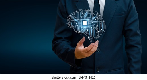 concept of thinking.background with brain CPU Mind series technology symbols  subject of computer science, artificial