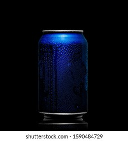 Concept of thirst and quenching thirst. Blue metal can with cola or beer. Drops of condensation on the surface.