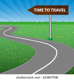 The concept of a time to travel. The road sign is wooden. Arrow. A winding road, sunny space, a forest and a meadow with flowers.