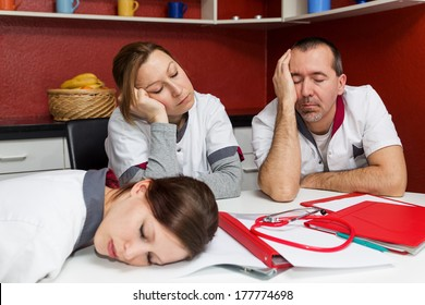concept tired nursing staff suffering from burnout