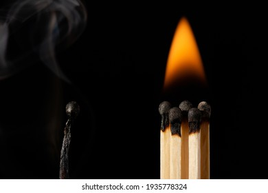 Concept of togetherness, strengths and advantages of working in team, group is more powerful than work alone. One burnt black match and a group of burning matches