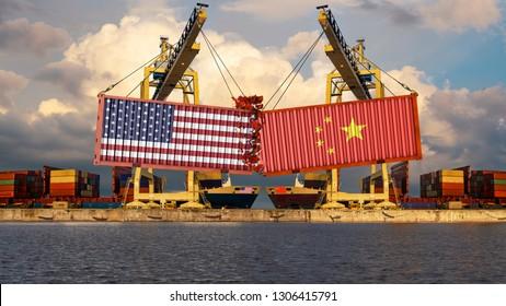 Konzept der Handelskonfrontation zwischen China und den USA. Die Anlandung von Containern mit US-amerikanischen und chinesischen Flaggen. 3D-Rendering
