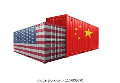 Concept, a trade war between China and the United States. Containers, trade frictions, US tariffs on exports to China