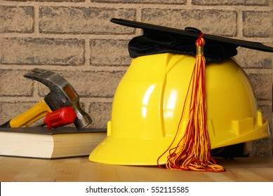 A concept of tradesman building their skills through successful completion of proper education.