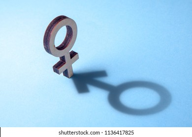 Concept of transvestite or bisexual. Tranender, woman feels like man. Shadow of woman's gerner symbol in the form of symbol of man