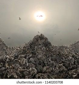Concept of trash dump. Garbage dump in form of mountains on a gloomy background. Save the planet.