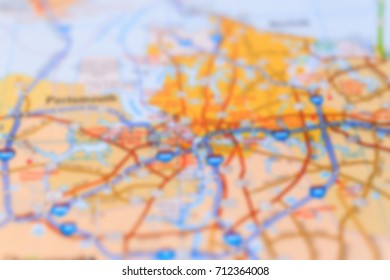 concept of travel. blurred background map