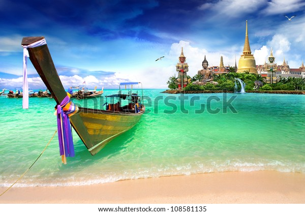 Concept travel Tropical beach, traditional long tail boats, Andaman Sea, Thailand