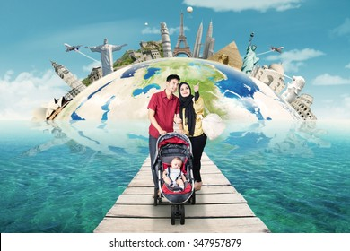Concept of traveling around the world with family walking on the bridge at sea. Shot with famous landmarks background