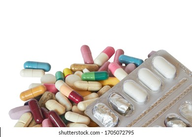 Concept of treatment, options for forms of pharmacological preparations, backdrop of multicolored medicine pills and capsules and blister with pills.