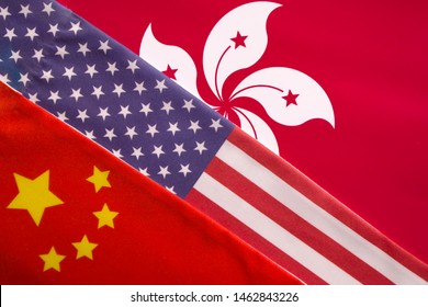Concept of Trilateral relationship between China, Honk Kong and USA showing with Flags.