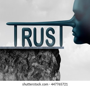 Concept of trust and honesty problem symbol as text with a long liar or lying person nose as a symbol of mistrust and doubt or loss of confidence in politics or business in a 3D illustration style.