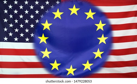 Concept United States and European Union flags combined for business partnerships