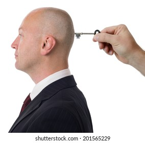 concept of unlocking the mind isolated on a white background