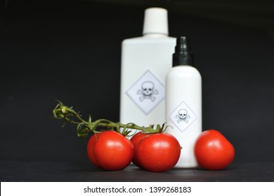 Concept for usage of dangerous pesticides in agricultural food products with red tomatoes in foreground and blurry white bottles with poisonous warning label with skull on black background