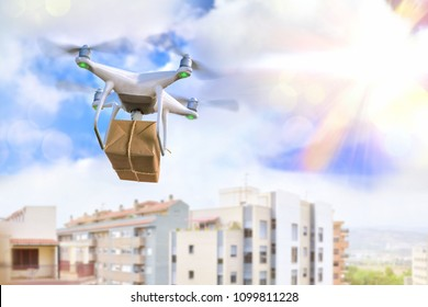 Concept of use of drones for the transport of mail and parcels. Horizontal composition