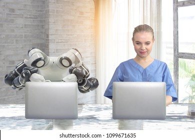 The concept of using artificial intelligence to work in modern office in the future accurately. Beautiful young women using laptops work with modern office robots.