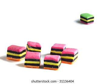 Concept using licorice allsorts - left out of the group