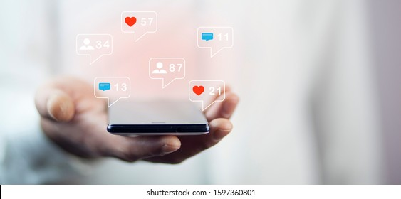 Concept of using a smartphone for social media
