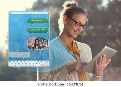 Concept of using wireless technology by woman, video call, typing message on tablet. Incoming call. interface of tablet pc screen