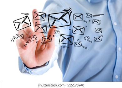 Concept view of sending message with touching interface with email icon around
