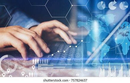 Concept of virtual diagram,graph interfaces,digital display,connections,statistics icons.Male hands typing on dock keyboard contemporary electronic tablet.Blurred background. Horizontal